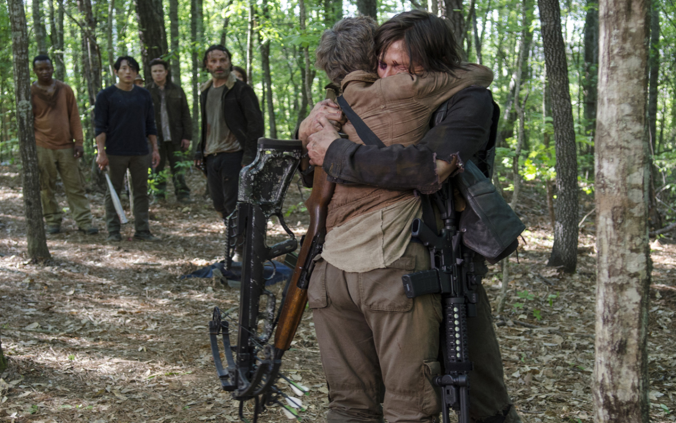 Carol Peletier (Melissa McBridge) and Daryl Dixon (Norman Reedus) in Season 5 Episode 1 No Sanctuary Photo by Gene Page/AMC